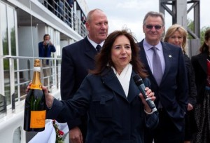 Christine Duffy prepares to christen AmaWaterways' AmaCerto ship in 2012.