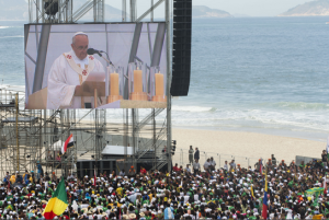 Pope Francis as he celebrates the World Youth Day's concluding Mass on Copacabana beach, in Rio de Janeiro, Brazil, Sunday, July 28, 2013. (AP Photo/Victor R. Caivano)