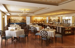Voyager East India Dining Room: Every evening an elegant, formal dinner is served, offering both Indian and western dishes. Credit: Gail Dubov